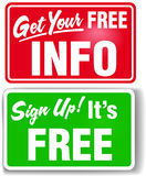 Sign up free info web store signs. Signs get users to sign up for free store info and join website vector illustration