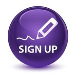 Sign up glassy purple round button Stock Photo