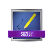 Sign up glossy button illustration design Stock Image