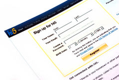 Sign up for Hi5. Application form Stock Image