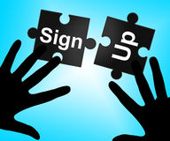 Sign Up Indicates Subscribe Membership And Registering Stock Photos
