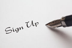 Sign Up with Ink Pen Royalty Free Stock Photos