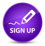 Sign up elegant purple round button. Sign up isolated on elegant purple round button abstract illustration Stock Photos