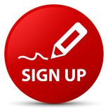 Sign up red round button. Sign up isolated on red round button abstract illustration Stock Images