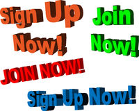 Sign up, Join Now!, Sign up now! 3-D signs Stock Images