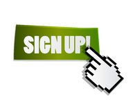 Sign up label with cursor Stock Photography