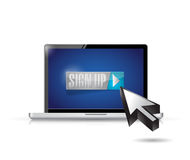 Sign up on laptop computer. illustration design Stock Image