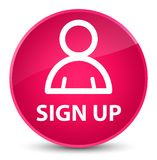Sign up (member icon) elegant pink round button Stock Photography