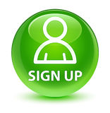 Sign up (member icon) glassy green round button Stock Photos