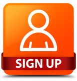 Sign up (member icon) orange square button red ribbon in middle Royalty Free Stock Images