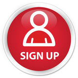 Sign up (member icon) premium red round button Stock Photo
