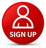 Sign up (member icon) red round button Royalty Free Stock Photography