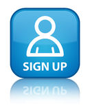 Sign up (member icon) special cyan blue square button Stock Photography