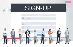 Sign Up Membership Registration Follow Concept Stock Photography