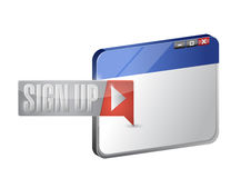 Sign up now button and browser illustration Stock Photography
