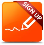 Sign up orange square button red ribbon in corner. Sign up isolated on orange square button with red ribbon in corner abstract illustration Royalty Free Stock Photography
