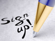 Sign up. On a paper Royalty Free Stock Image