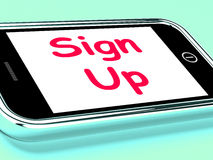 Sign Up On Phone Shows Join Membership Register Stock Photo
