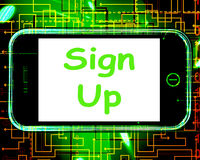Sign Up On Phone Shows Join Membership Register Royalty Free Stock Photos