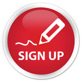 Sign up premium red round button Stock Photography