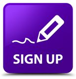 Sign up purple square button Royalty Free Stock Images