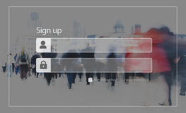 Sign Up Registration Password Privacy Security Concept Stock Images