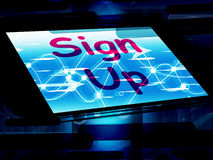 Sign Up On Screen Shows Join Membership Register Royalty Free Stock Photo
