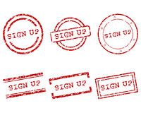 Sign up stamps Royalty Free Stock Images