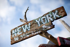 Sign up to New York City. Wooden sign to New York City Royalty Free Stock Image