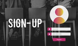 Sign Up User Password Privacy Concept. People Sign Up User Password Privacy Stock Photography