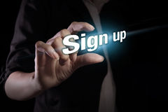 Sign up on the virtual screen Royalty Free Stock Photography