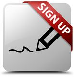 Sign up white square button red ribbon in corner Royalty Free Stock Photos