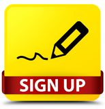 Sign up yellow square button red ribbon in middle. Sign up isolated on yellow square button with red ribbon in middle abstract illustration Royalty Free Stock Photo