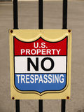 Sign US Property No Trespassing Stock Photography