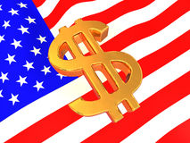 Sign of USD on American flag Stock Image