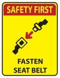 Safety first - Fasten seat belt. Sign Use Fasten seat belt! Safety first Stock Photos