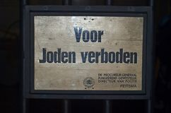 Sign used during world war 2 with dutch text Voor joden verboden which menans no jews allowd Stock Image