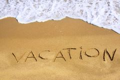Sign Vacation on Sea Beach Stock Images