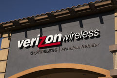 Sign at Verizon wireless cellular retail store. Lighted sign above Verizon wireless retail store. Verizon is a leading cellular phone carrier in the United royalty free stock photography