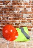 Sign vest three. Orange construction vest on white background Stock Photos