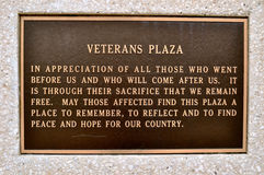 Sign Veterans Plaza Waco. Texas Royalty Free Stock Images