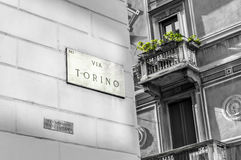 Sign of Via Torino Royalty Free Stock Images