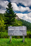 Sign and view of Devils Courthouse, on the Blue Ridge Parkway in Royalty Free Stock Images