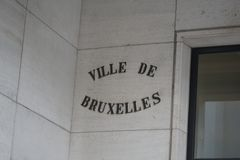 Sign of Ville de Bruxelles or Stad Brussel municipality. Sign of Ville de Bruxelles French or alternatively Stad Brussel Dutch, that is the largest municipality Stock Images