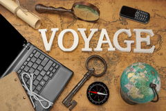 Sign Voyage, Laptop, Key, Globe, Compass, GSM Phone, Letter, Mag Royalty Free Stock Photo