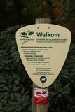Sign for walking direction and behaviour rules of a clog path on the Veluwe in Gelderland, The Netherlands. Sign for walking direction and behaviour rules of a royalty free stock photo
