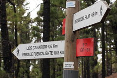 Sign for walking trail La Ruta de los Volcanes on  Royalty Free Stock Image