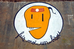 Sign on a wall fais moi un bisou. Or give me a kiss, Varanasi, India 2009 Vector Illustration