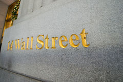 The sign on the wall street Stock Image