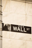 The sign on the wall street. Sign on the Wall Street Royalty Free Stock Photos